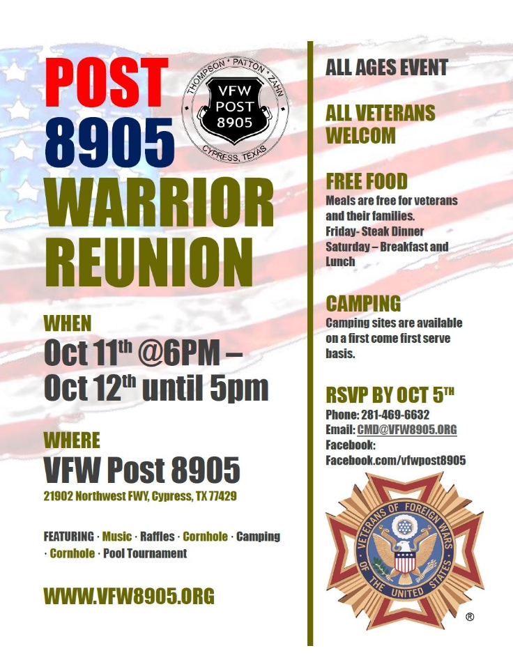 2019 Warrior Reunion Flyer